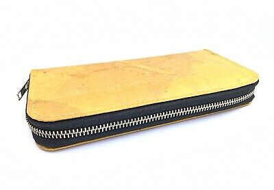 Leaf leather bifold wallet, cards&coins holder for women - Handmade - Yellow