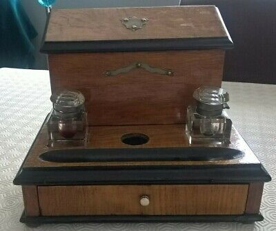 Wooden Writing box with Two Ink Wells Paper & Enverlope Draws