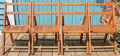 Set Of 4 Vintage Folding Oak Wooden Slat Child's Chairs Frostbrand Louisiana Old