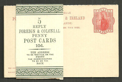 Qv 1D Red Empire Post Cards With Reply Cp37 Unused Pack Of 5 With Wrapper Band