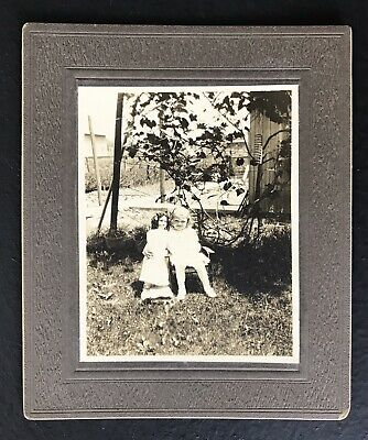 Vintage Cabinet Card Sepia Photograph Child With Doll