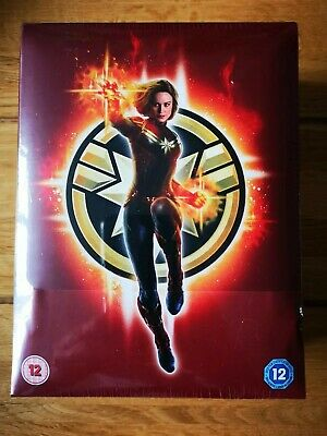 Zavvi Exclusive Captain Marvel 2D/3D Blu Ray Steelbook Light Up Boxset New Mint!