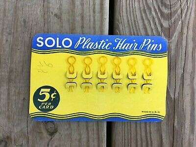 Antique Vintage Lot of 6 Yellow SOLO Celluloid Plastic Hair Pins / Bobby Pins