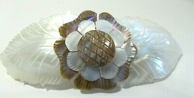 Large Hair Clip Barrette Mother Of Pearl Flower Vintage Pretty
