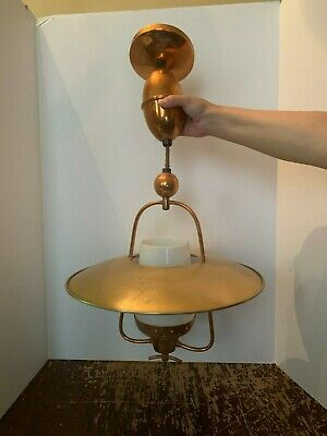 Vintage Mid Century Copper Retractable Ceiling Light Fixture