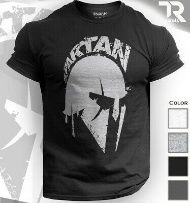 Spartan Warrior Helmet T Shirt Gym Bodybuilding Muscle Top Fitness Workout Mma
