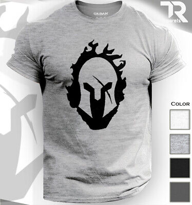 Spartan Warrior Helmet In Flames Tshirt Gym Bodybuilding Top Fitness Workout Mma