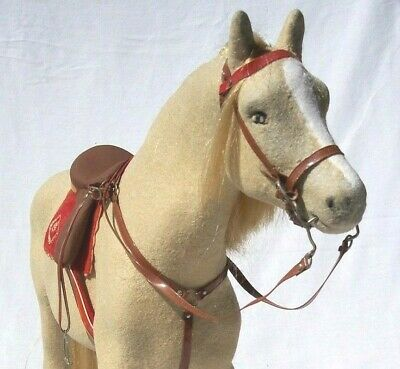 STEHA Flocked Horse 1960s Lg Stallion Toy Model W Germany Lieha L5 Saddle Bridle