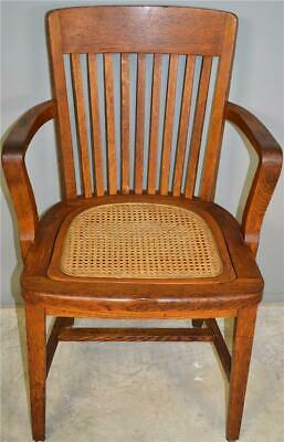 17804 Oak Lawyers Bankers Cane Seat Arm Chair