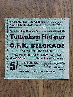 ORIGINAL 1963 European Cup Winners Cup S/Final Ticket - Tottenham v OFK Belgrade