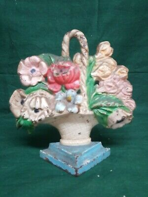 Vintage Flower Basket Cast Iron Door Stop Victorian Era Hubley?
