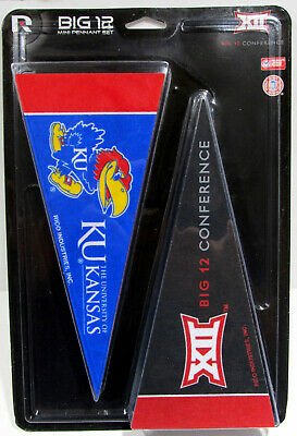 "BIG 12 Mini Pennant Set NCAA Teams (10) 4""x 8 3/4"" Big 12 Conference"