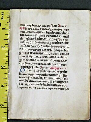 Rare dated liturgical paper Manuscript quire of 8 leaves ln Dutch,done in 1501