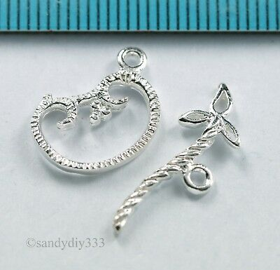 1x STERLING SILVER BRIGHT FLOWER TOGGLE CLASP 13.3mm N408