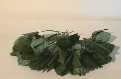 "VINTAGE MILLINERY Velvet Green Leaves Made KOREA 1.5""  ABOUT 12 BUNCHES"