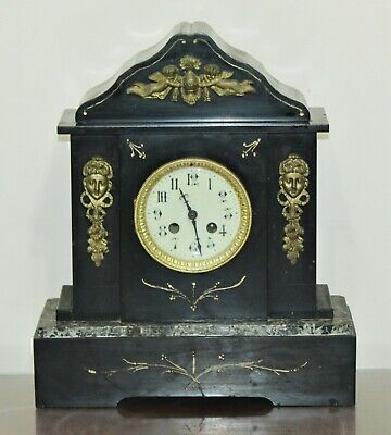 "Antique JAPY FRERES Black Slate Marble Shelf Mantel Clock - 15"" H x 13"" W"