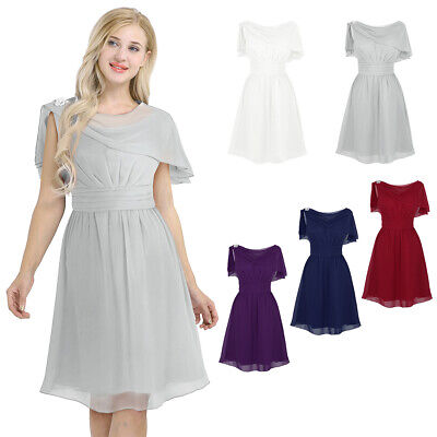 Womens Lady High-waist Bridesmaid Chiffon Evening Prom Party Gown Cocktail Dress