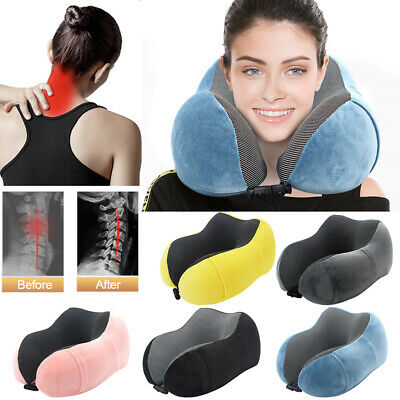 U-Shaped Memory Foam Rebound Travel Pillow Neck Support Head Rest With Bag UK