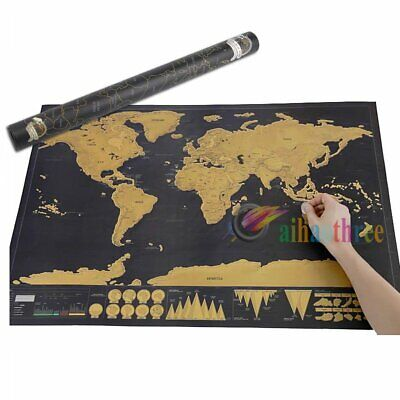 Scratch Off Map World Deluxe Large Personalized Travel Poster Travel Atlas NEW