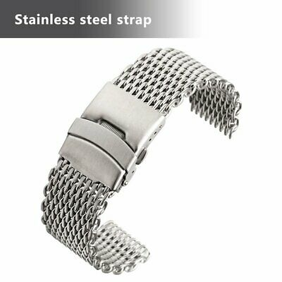 18/20/22mm Stainless Steel Dive Shark Mesh Milanese Watch Bracelet Strap Band E3