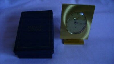 Vintage Brass Jaeger Recital 8 Day Desk / Alarm Clock In Good Working Order