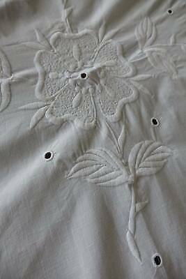 Gorgeous antique white Irish linen bedspread -  whitework embroidery Flowers