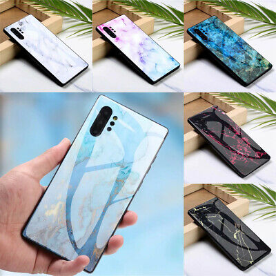 For Samsung Galaxy Note 10 Plus 9 8 Hybird Marble Tempered Glass Hard Case Cover