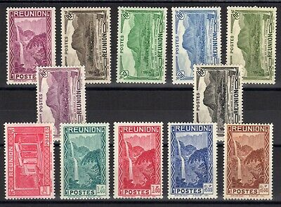 REUNION: SERIE COMPLETE DE 12 TIMBRES NEUF* N°163/174 Cote: 11,60 €
