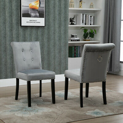 Grey Velvet Dining Room Chairs with Knocker Tufted Upholstered Kitchen Chair NEW