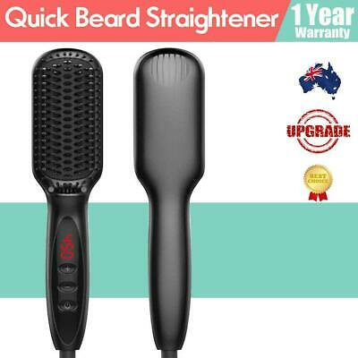 Quick Heating Beard Straightener Hair Comb Curling Curler Adjustable For Man AU