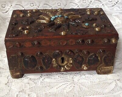 Antique Asian Oriental Box With Unusual Decoration, Turquoise & Brass