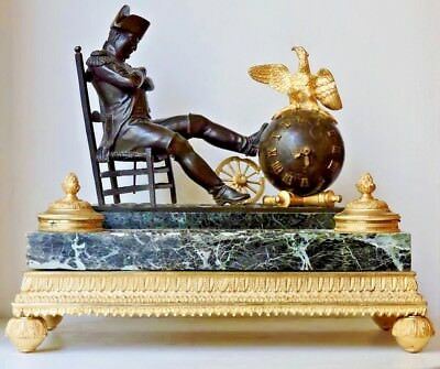 Napoleon At The Watch  Antique 19th Century Bronze Desk  Clock and Inkwell