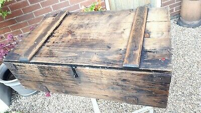 Nice Large old carpenters wooden tool box chest coffee table with metal corners