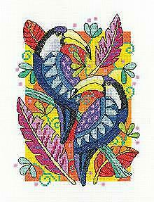 Heritage Crafts Counted Cross Stitch Kit -Karen Carter Collection - Toucans  - 1