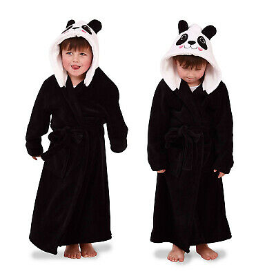 Nifty Kids 3D Hooded Panda Dressing Gown Childs Novelty Animal Robe Nightwear