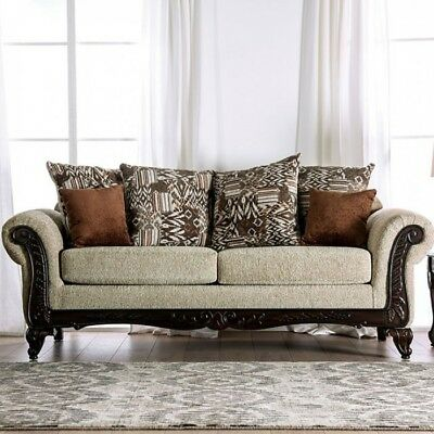 Antique Formal Sofa Loveseat Intricate Wood Trim Rolled Arms Tan Fabric Couch