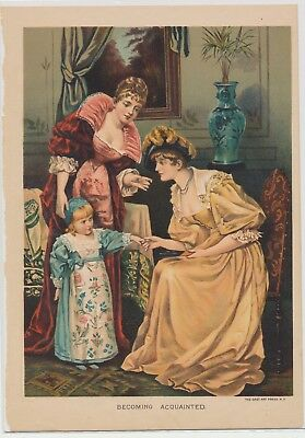 Antique Chromolithograph Vintage Victorian Art Exquisite Print Deep Color