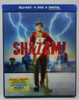Shazam!  2019 [Blu-ray + DVD + Digital]  BRAND NEW Slipcover See Pics!