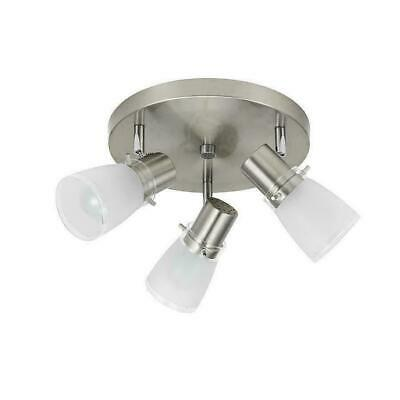 save off a4932 f1686 ALLEN + ROTH Montgomery 3 Light Flush Mount Light Kit Brushed Stainless  Steel