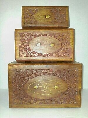 **WOW** 3 Hand Carved Wood Nesting Jewelry/Trinket Boxes from India