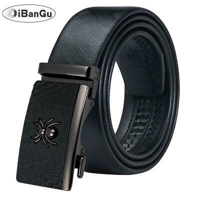 UK Black Spider Buckles Mens Belts Real Leather Automatic Ratchet Waist Straps
