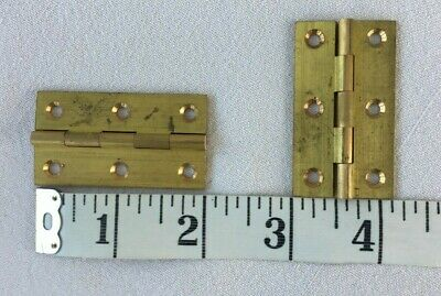 "2 Vintage Solid Drawn Brass Butts Hinges 2"" Long 1 1/8"" Wide Unused"