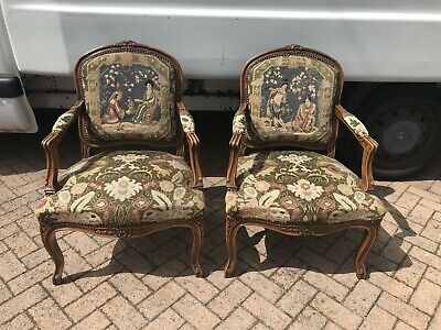 Antique French Carved Frame Needlepoint Armchairs