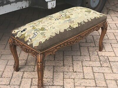 Antique French Carved Frame Needlepoint Large Footstool