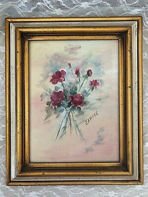 Vintage 1972 Oil Painting On Canvas  Roses Gold Ivory Frame Signed Victorian