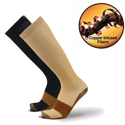 Mens Womens Copper Infused Compression Socks Anti Fatigue Sports Stockings S-XXL