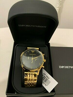 Emporio Armani Ar1893 Authentic Yellow Gold Black Dial Chronograph Mens Watch Uk
