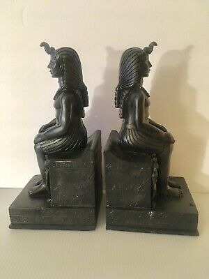 Egyptian Statue Book Ends Male God Temple Bookends Statuary Ethnic Pyramid Rare
