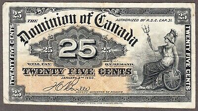 1900 Dominion of Canada - 25 Cents Bank Note - VF - DC-15b - AC47
