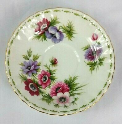 Royal Albert Saucer Anemones Flower of the Month Series Bone China England